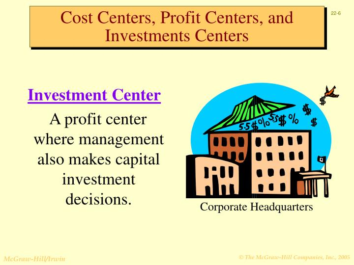 cost centres profit centres investment centres How do such companies define profit and investment for measuring investment center  whose return is between the cost of capital and an investment center.