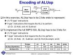 encoding of aluop
