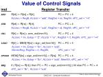 value of control signals
