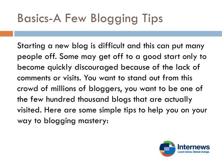Basics-A Few Blogging