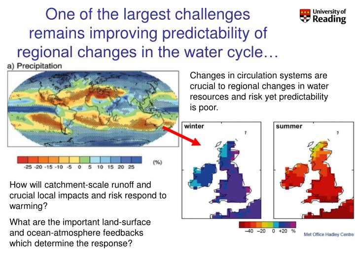 One of the largest challenges remains improving predictability of regional changes in the water cycle…