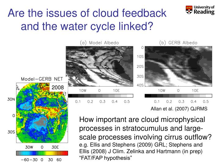 Are the issues of cloud feedback and the water cycle linked?