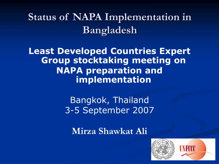 status of napa implementation in bangladesh n.