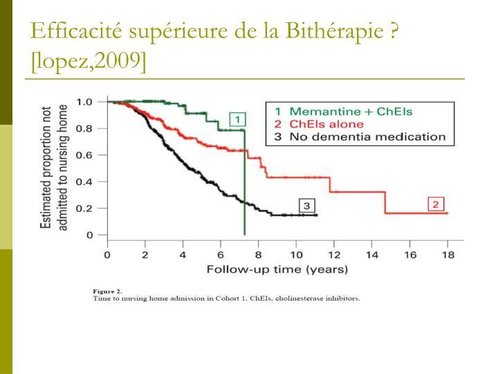 Efficacité supérieure de la Bithérapie ? [lopez,2009]