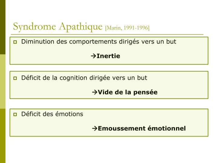 Syndrome Apathique