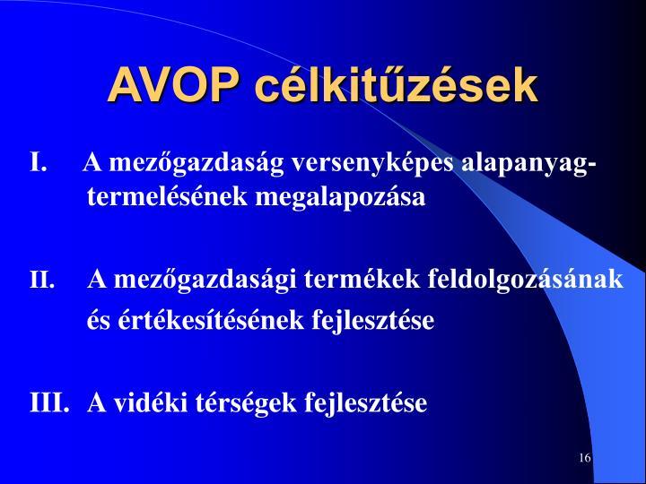 AVOP célkitűzések