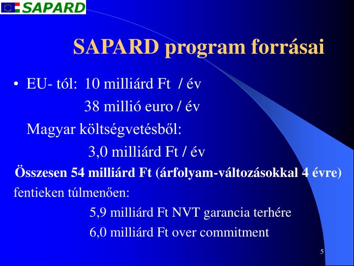 SAPARD program forrásai