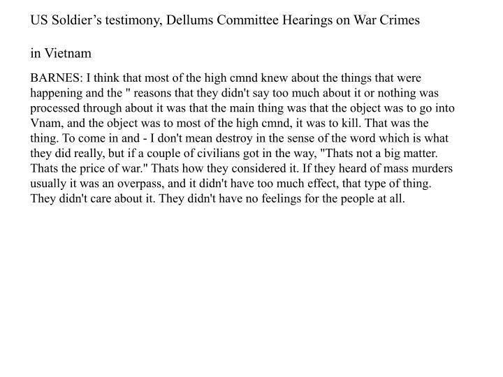 US Soldier's testimony,