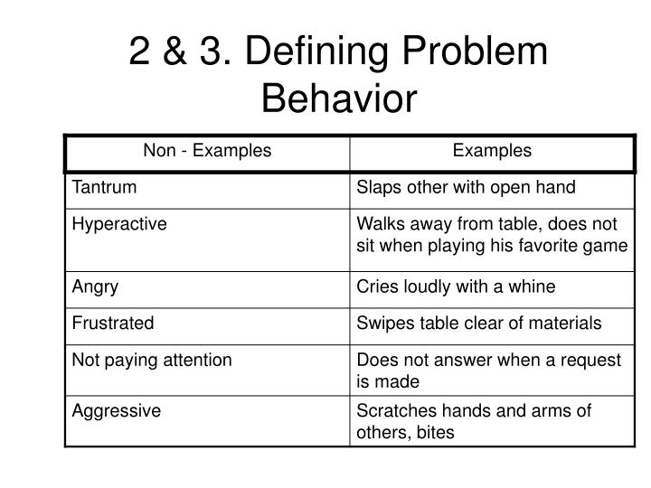 2 & 3. Defining Problem Behavior