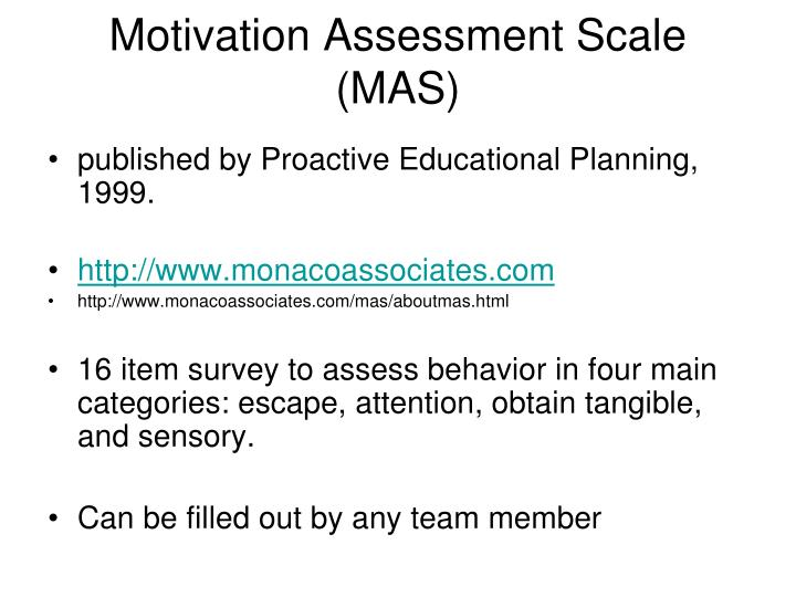 Motivation Assessment Scale (MAS)