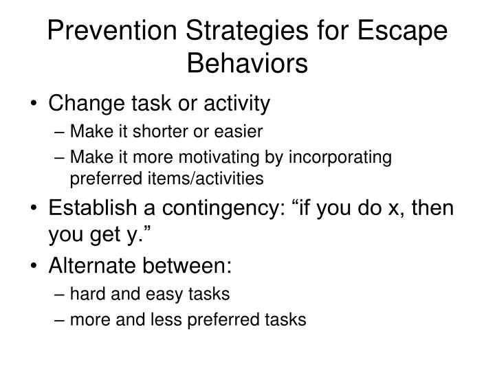 Prevention Strategies for Escape Behaviors