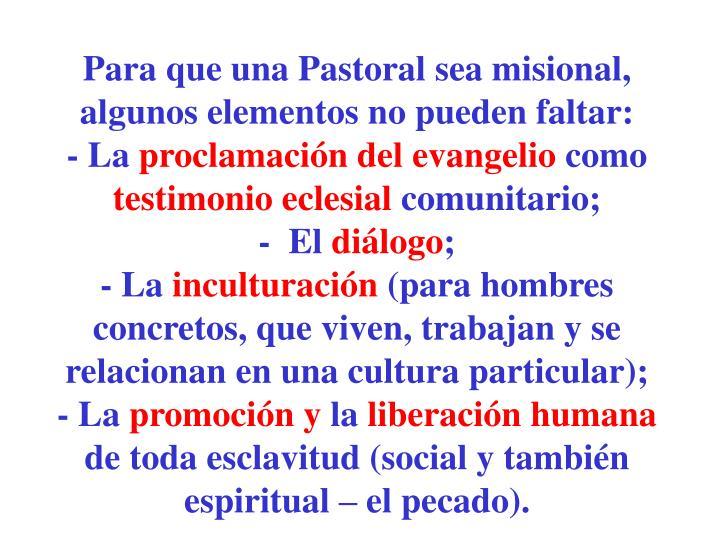 Para que una Pastoral sea misional, algunos elementos no pueden faltar: