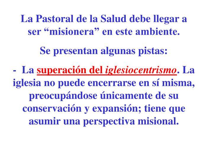 """La Pastoral de la Salud debe llegar a ser """"misionera"""" en este ambiente."""