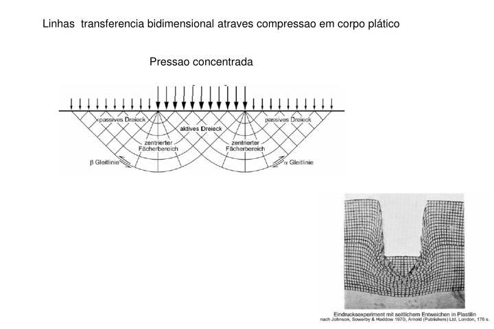 Linhas  transferencia bidimensional atraves compressao em corpo plático