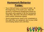 homework behavior folder