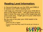 reading level information