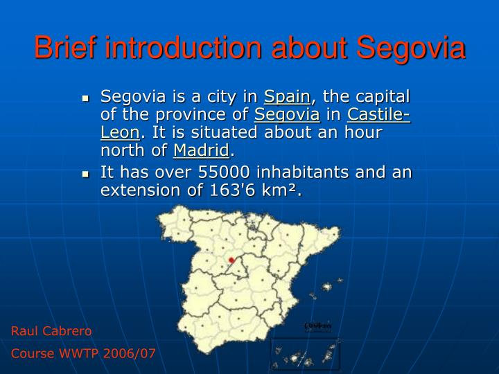 brief introduction about segovia n.