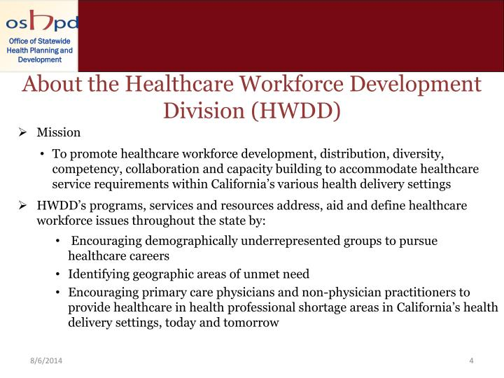 About the Healthcare Workforce Development Division (HWDD)