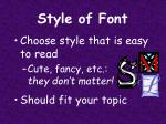 style of font