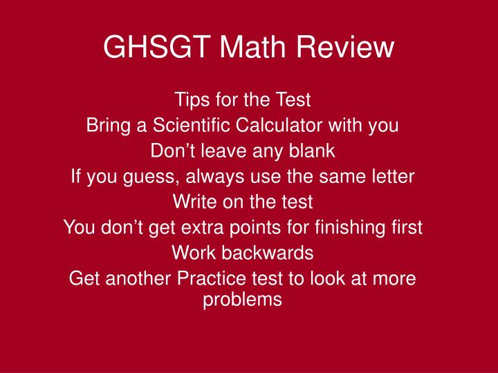 Tips for the Test
