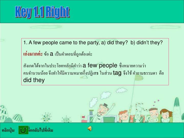 Key 1.1 Right