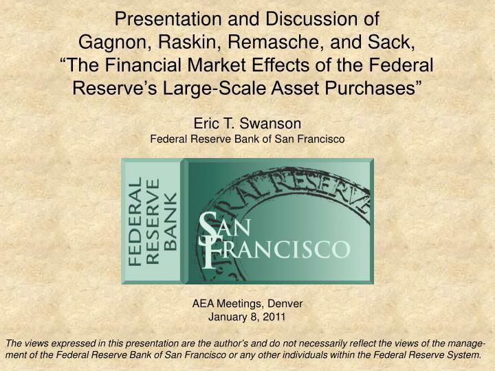Presentation and Discussion of
