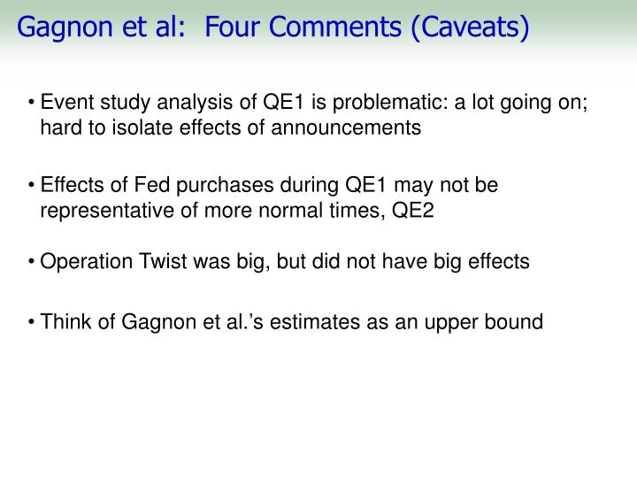 Gagnon et al:  Four Comments (Caveats)