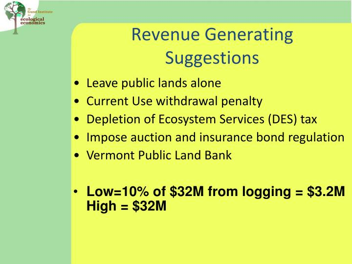 Revenue Generating Suggestions