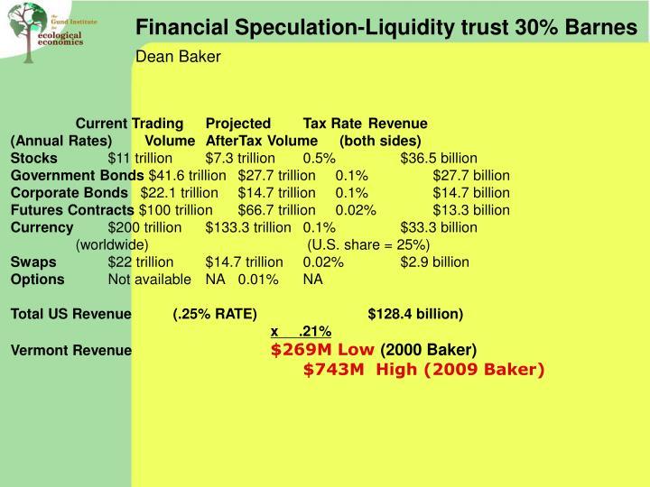 Financial Speculation-Liquidity trust 30% Barnes