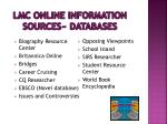 lmc online information sources databases