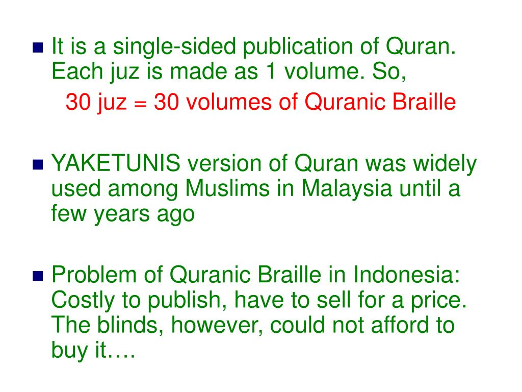 PPT - Application of Braille in Quranic and Sunnah Studies