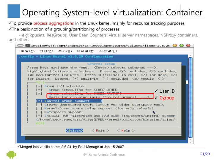 Operating System-level virtualization: Container