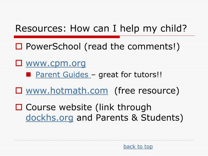 Resources: How can I help my child?