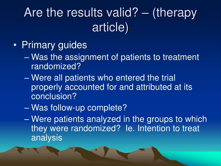 Are the results valid? – (therapy article)