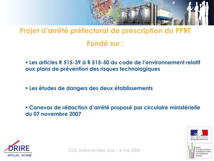 Projet d'arrêté préfectoral de prescription du PPRT