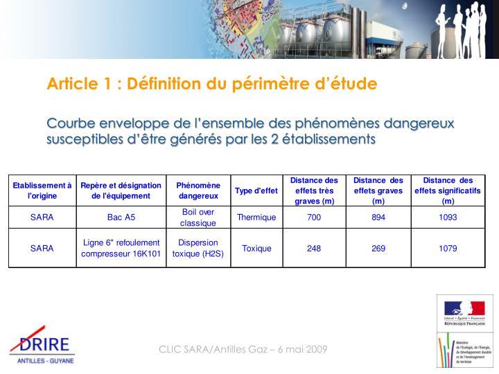 Article 1 : Définition du périmètre d'étude