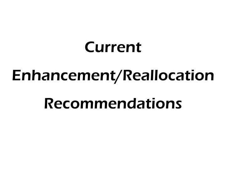 Current Enhancement/Reallocation Recommendations
