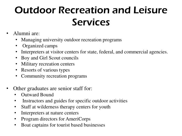 Outdoor Recreation and Leisure Services