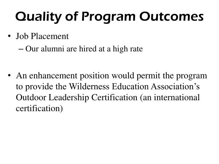 Quality of Program Outcomes