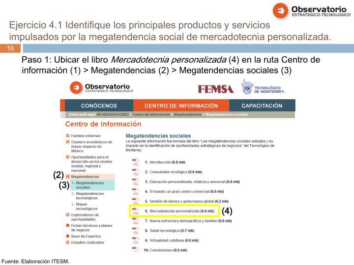 Ejercicio 4.1 Identifique los principales productos y servicios