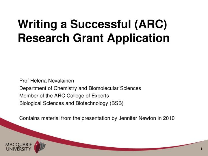 writing a successful arc research grant application n.