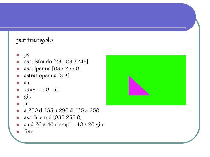 per triangolo