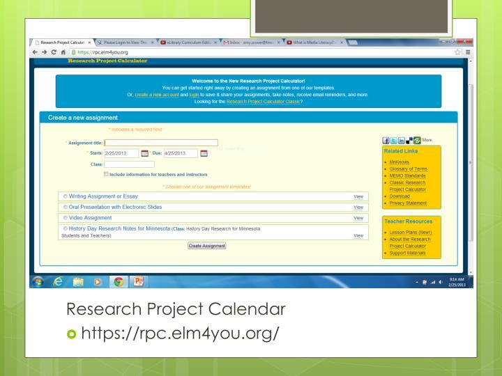 Research Project Calculator