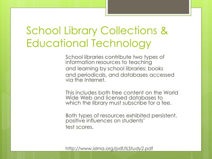 School library collections educational technology