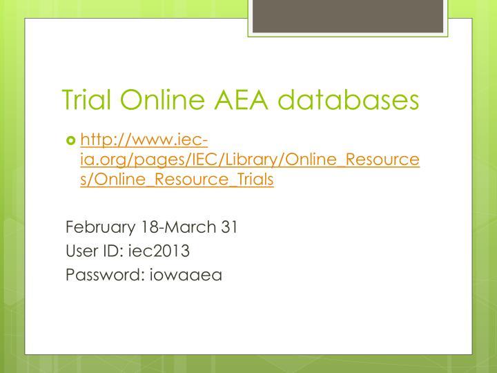 Trial Online AEA databases