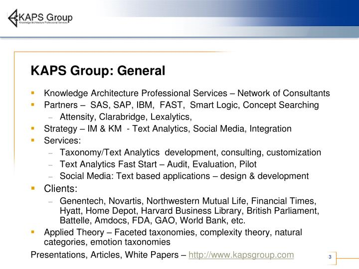 Kaps group general