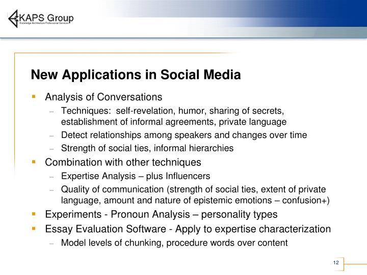 New Applications in Social Media