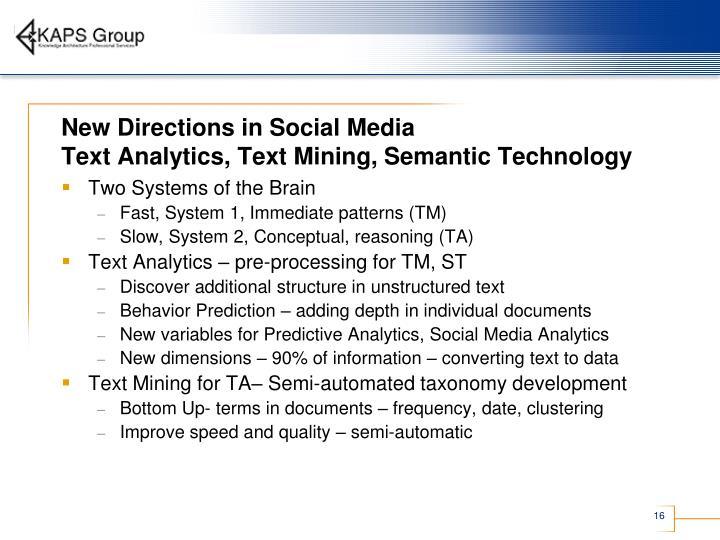 New Directions in Social Media
