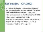 roll out jan oct 2012