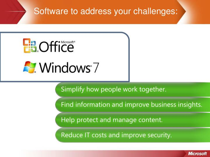 Software to address your challenges: